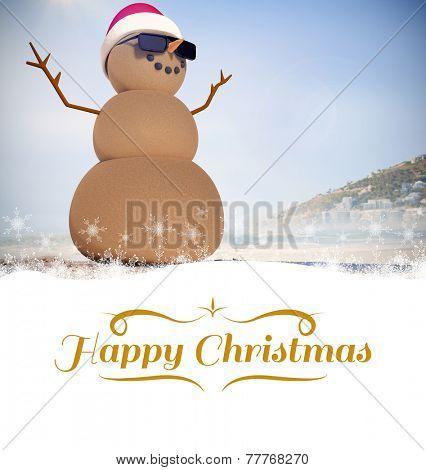 border against festive sandman on the beach