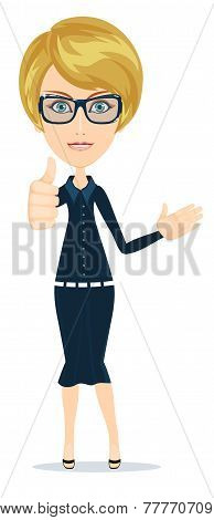 Stock Vector illustration of a smiling cartoon business woman or teacher
