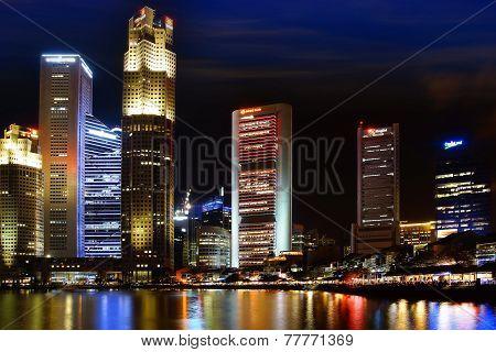 Singapore Boat Quay At Night.