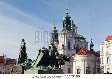 Statue Of Jan Hus. Old Town Square, Prague