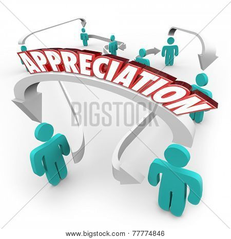 Appreciation 3d word on arrows connecting people thankful and grateful for help, assistance and support poster