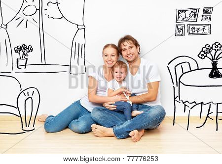 Concept : Happy Young Family In  New Apartment Dream And Plan Interior