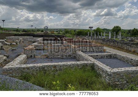 Ancient Roman town peristyle complex Abritus