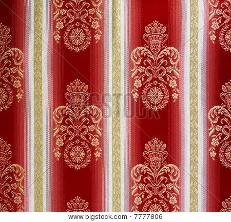 Pattern Of Retro Red And White Ornate Tapestry