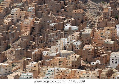 Traditional mud bricks buildings of Seiyun city, Hadramaut valley, Yemen. poster