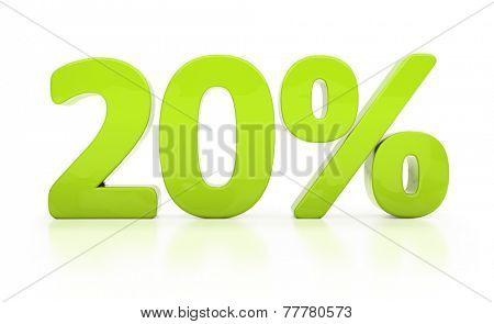 Twenty percent off. Discount 20.  Percentage. 3D illustration