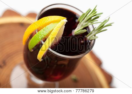 Traditional Winter Hot Alcohol Drinks Mulled Wine With Orange, Spices