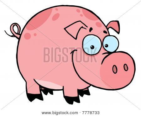 Happy Smiling Pink Pig With Spots