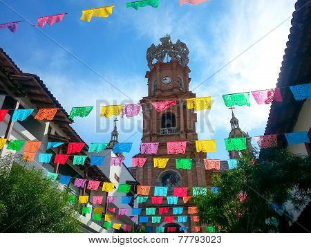 Guadalupe Procession Decorations with Cathedral in Background
