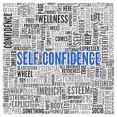 Close up Blue SELF CONFIDENCE Text at the Center of Word Tag Cloud on White Background. poster
