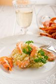 rice with shrimp and parsley and white wine close up poster
