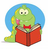 Excited Green Caterpillar With Yellow Spots, Reading An Entertaining Book poster
