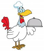 Happy Rooster Chef Serving A Platter Cartoon Character poster