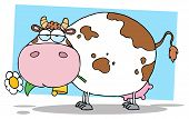 Mascot Cartoon Character Farm Dairy Cow With Flower In Mouth poster