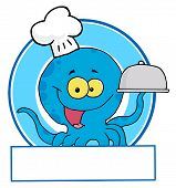 Cartoon Character of Blue Octopus Chef Logo poster