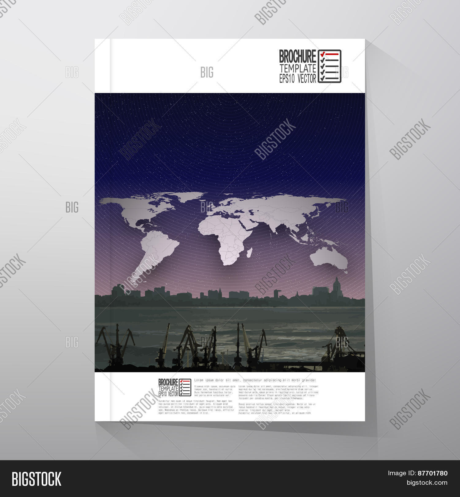 Shipyard city vector photo free trial bigstock shipyard and city landscape night design world map vector brochure flyer or gumiabroncs Choice Image