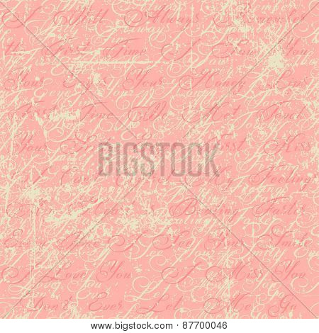 Abstract seamless pattern with writings, it says: I will always remember the first time I saw you. Your eyes, your honey lips, first time we met. I love you. I miss you. Don't ever let me go.