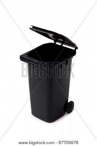 Black Garbage Bin On White Background