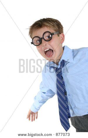Crazy Boy Wearing Wacky Glasses Having Fun