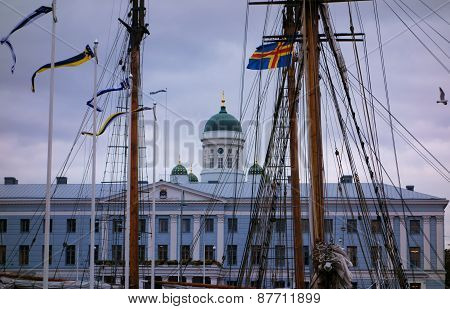 Helsinki behind sailboat masts October 6, 2014 in Helsinki, Finland