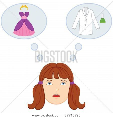 A girl tries to decide between gender roles related to her future career. Choice is between a princess stereotype or a scientist. poster