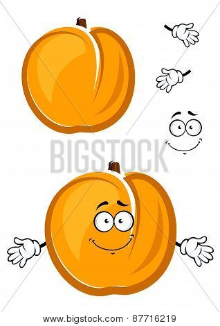Sunny yellow cartoon juicy apricot fruit character with cute smile and thin fuzzy skin isolated on white background suited for agriculture or food  design poster