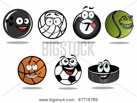 Cartoon hockey puck and sporting balls mascots