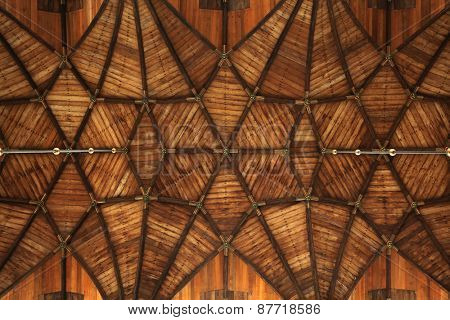 Gothic wooden vaulted ceiling in the Grote Kerk (Great Church) on the Grote Markt in Haarlem, North Holland, Netherlands.  poster