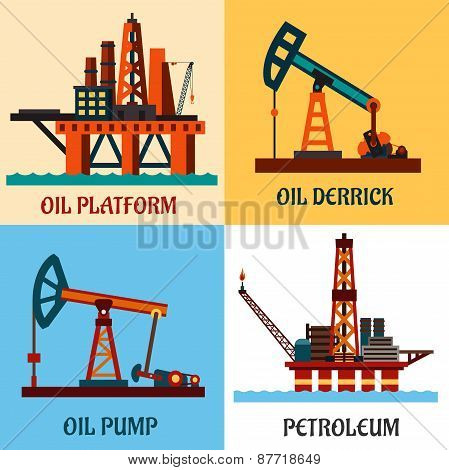 Petroleum production and oil derrick flat icons