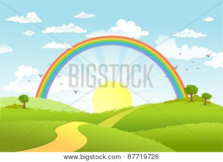 Rural scene with rainbow and bright sun, house and trees on sunny day
