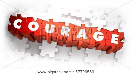 Courage - White Word on Red Puzzles.