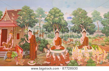 Thai art, Mural mythology buddhist religion on wall in Wat Neramit Vipasama Dansai Loei Thailand poster