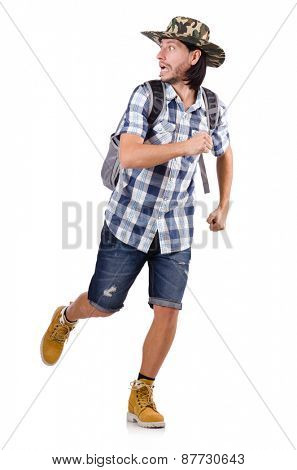 Running young traveller with backpack isolated on white