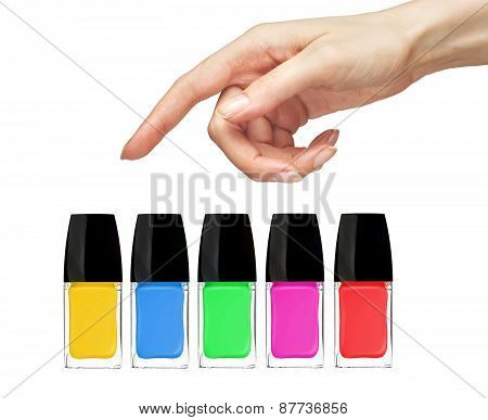 Woman Hand Choice Nail Polish Isolated On White