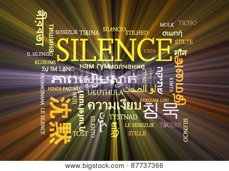 Background concept wordcloud multilanguage international many language illustration of silence glowing light poster