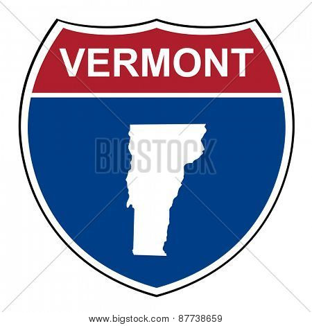 Vermont American interstate highway road shield isolated on a white background.