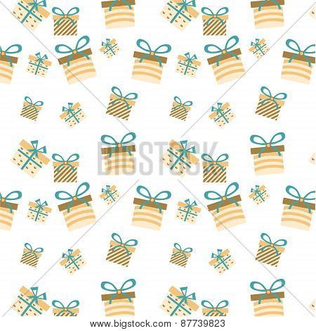 One romantic, seamless pattern with gifts with stripes, hearts and bows