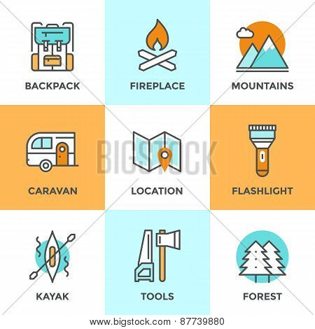 Line icons set with flat design elements of outdoor adventure tourist trip hiking equipment mountain climbing forest and terrain map river rafting. Modern vector logo pictogram collection concept. poster