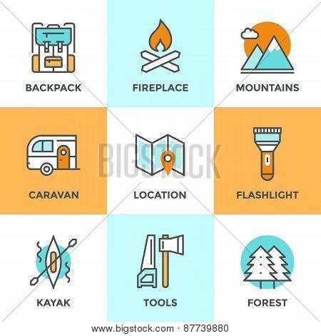 Outdoor Adventure Line Icons Set