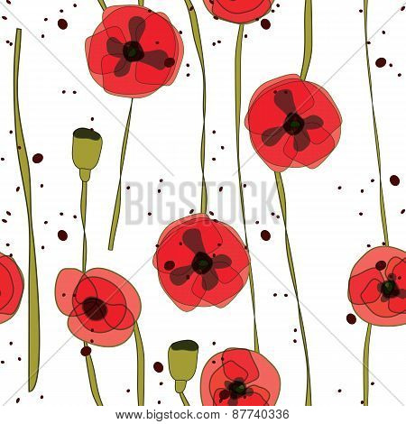 vector abstract seamless pattern creative red flower