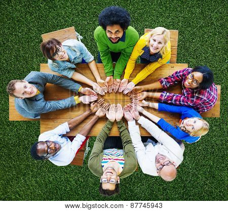 Diversity People Charity Giving Lend Unity Group Concept
