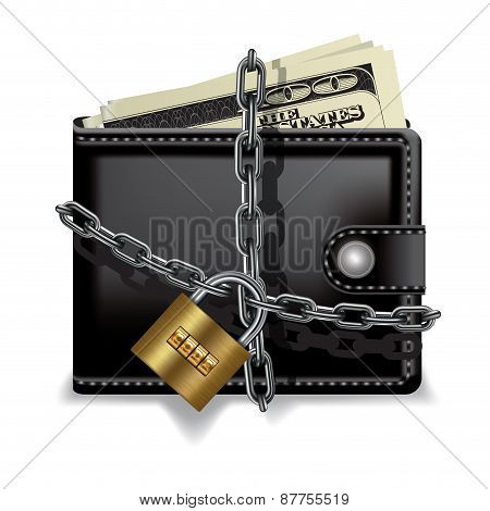 Black locked wallet with money isolated on white. Vector illustration poster