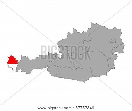 Map Of Austria With Flag Of Vorarlberg