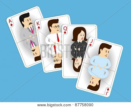 Strong business team. Set of four cards of the same suit with good staff