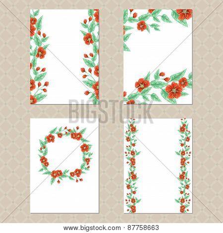 Four Floral Cards
