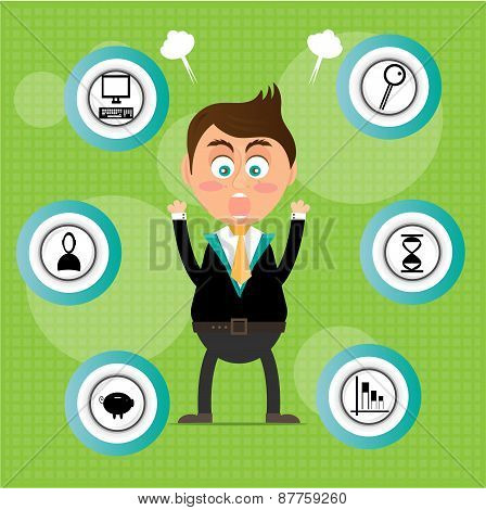 Angry, young, standing, businessman with round signs with black icons, green background with pattern
