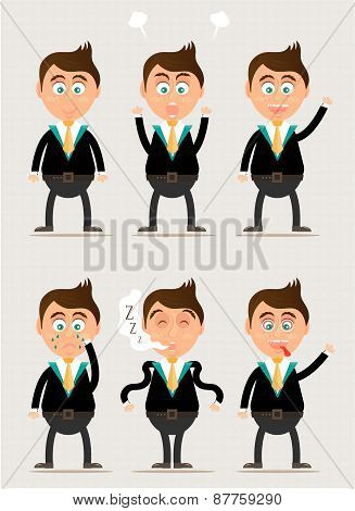 Set, collection, group of businessman characters poses, brigh background