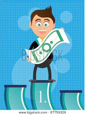 Smiling, happy, young, businessman, standing on podium, with banknote, he is winner, blue background