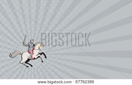 Business Card Knight Riding Horse Sword Cartoon