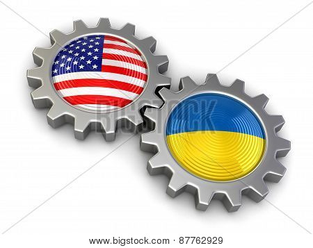 USA and Ukrainian flags on a gears (clipping path included)